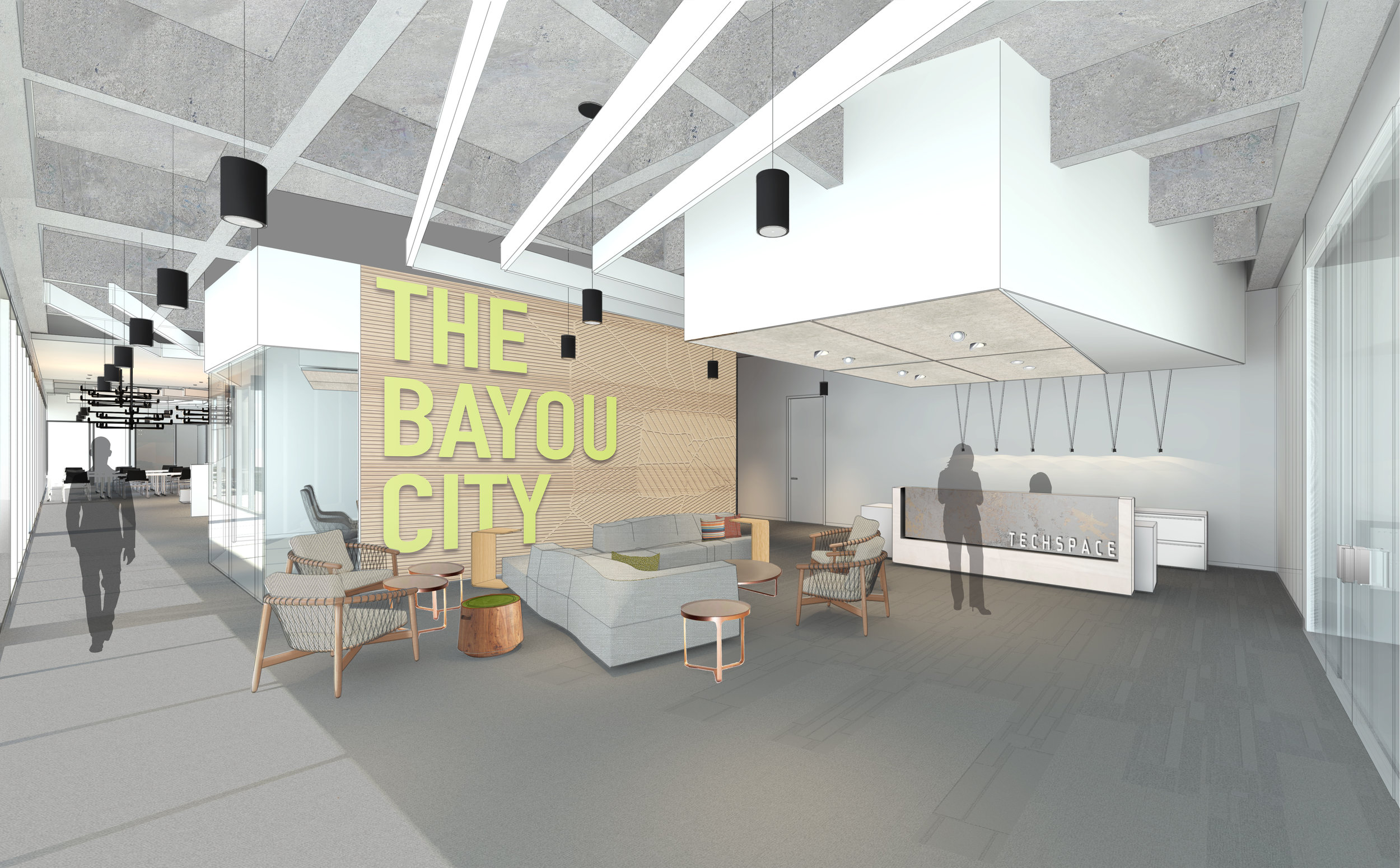 Rendering of TechSpace - PDR designed Coworking space