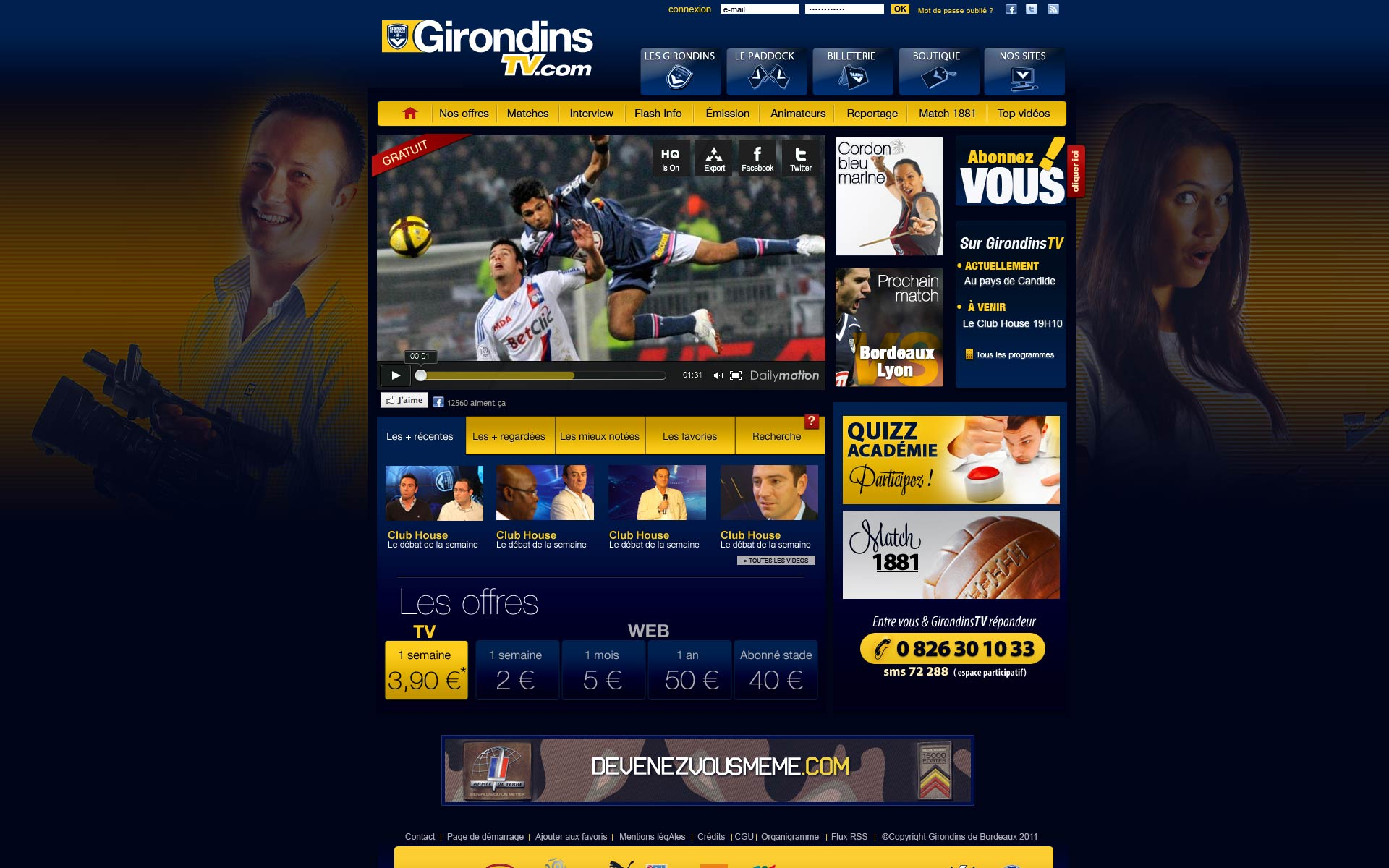 Copy of GirondinsTV.com : web TV du FC Girondins de Bordeaux.