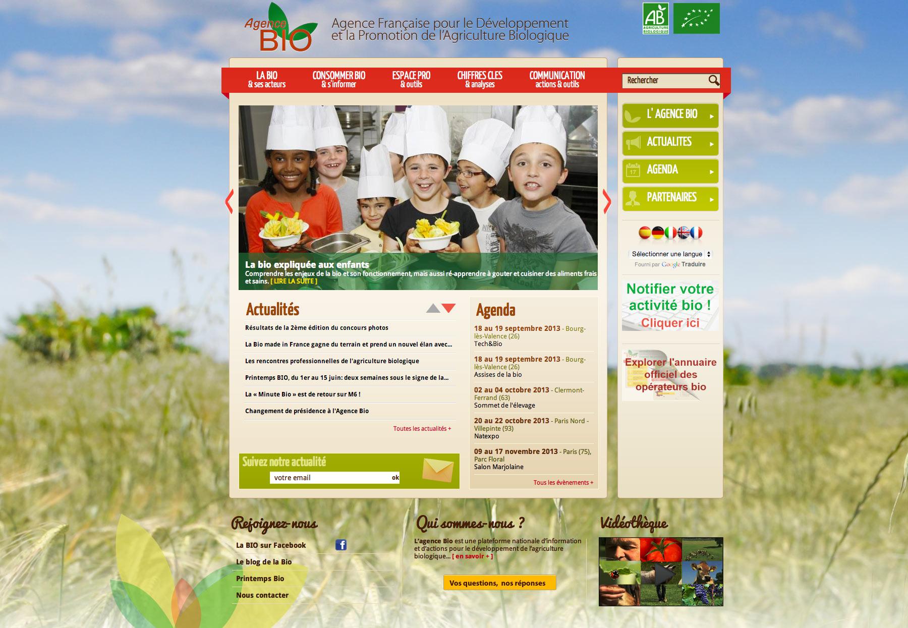 L'agence Bio : l'agence française pour le développement et la promotion de l'agriculture biologique.