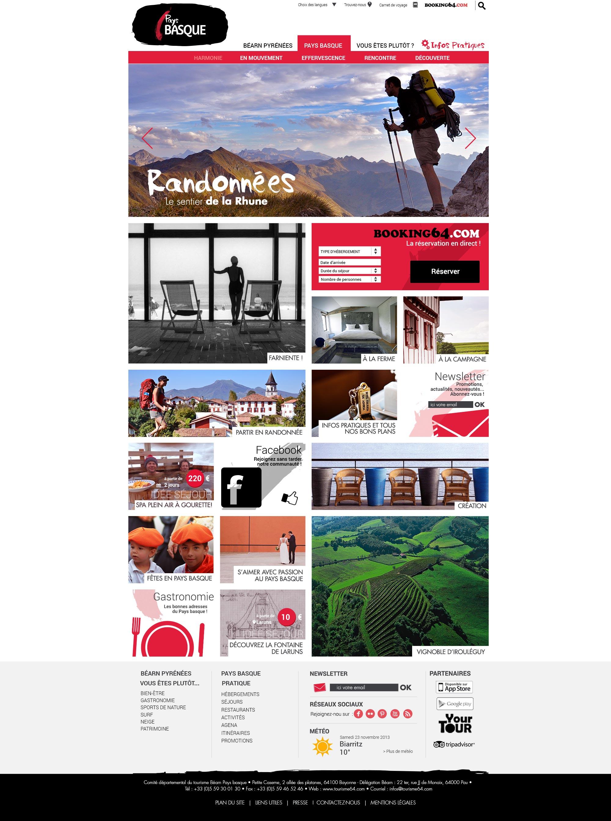 Tourisme 64 : le nouveau site de Béarn Pyrénées Pays Basque.