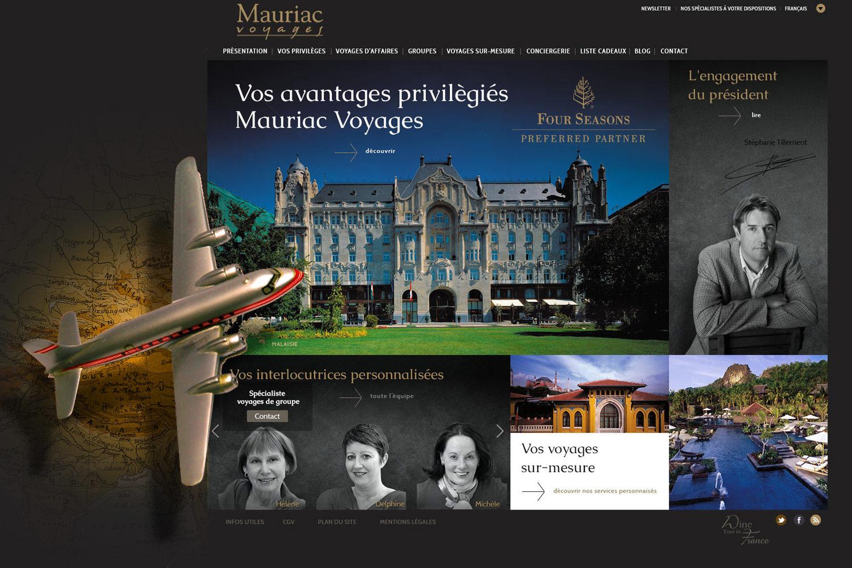 Mauriac Voyages : webdesign d'un nouveau site d'un voyagiste bordelais de prestige.