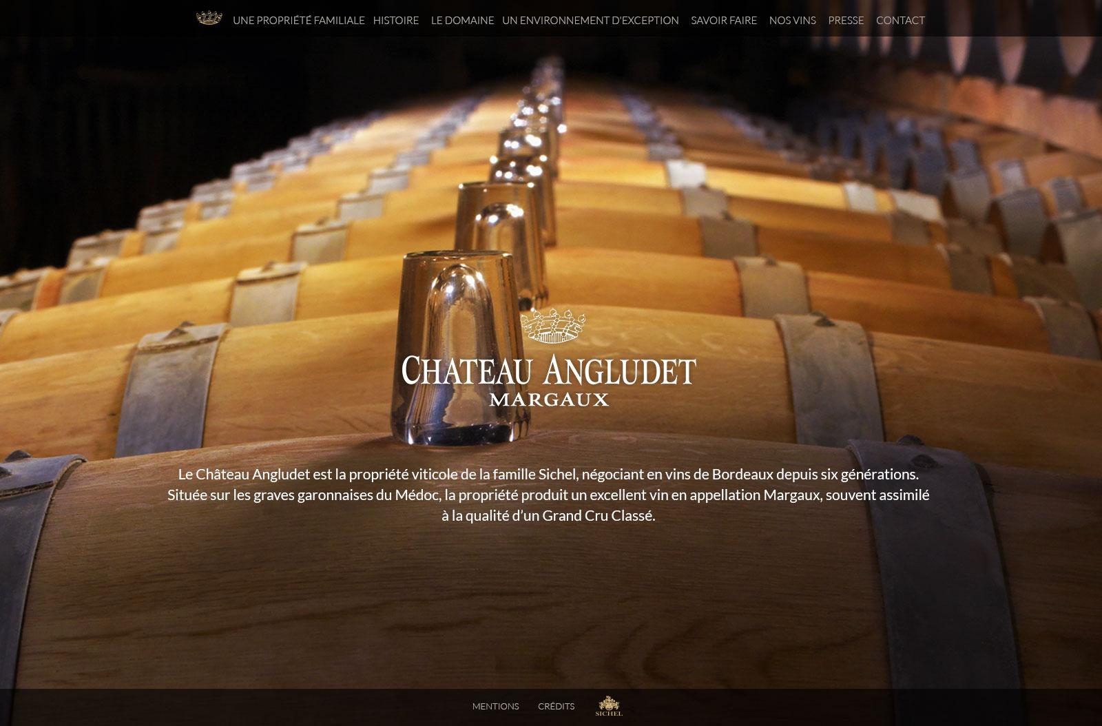 Château Angludet : webdesign pour un Château du Médoc en appellation Margaux.