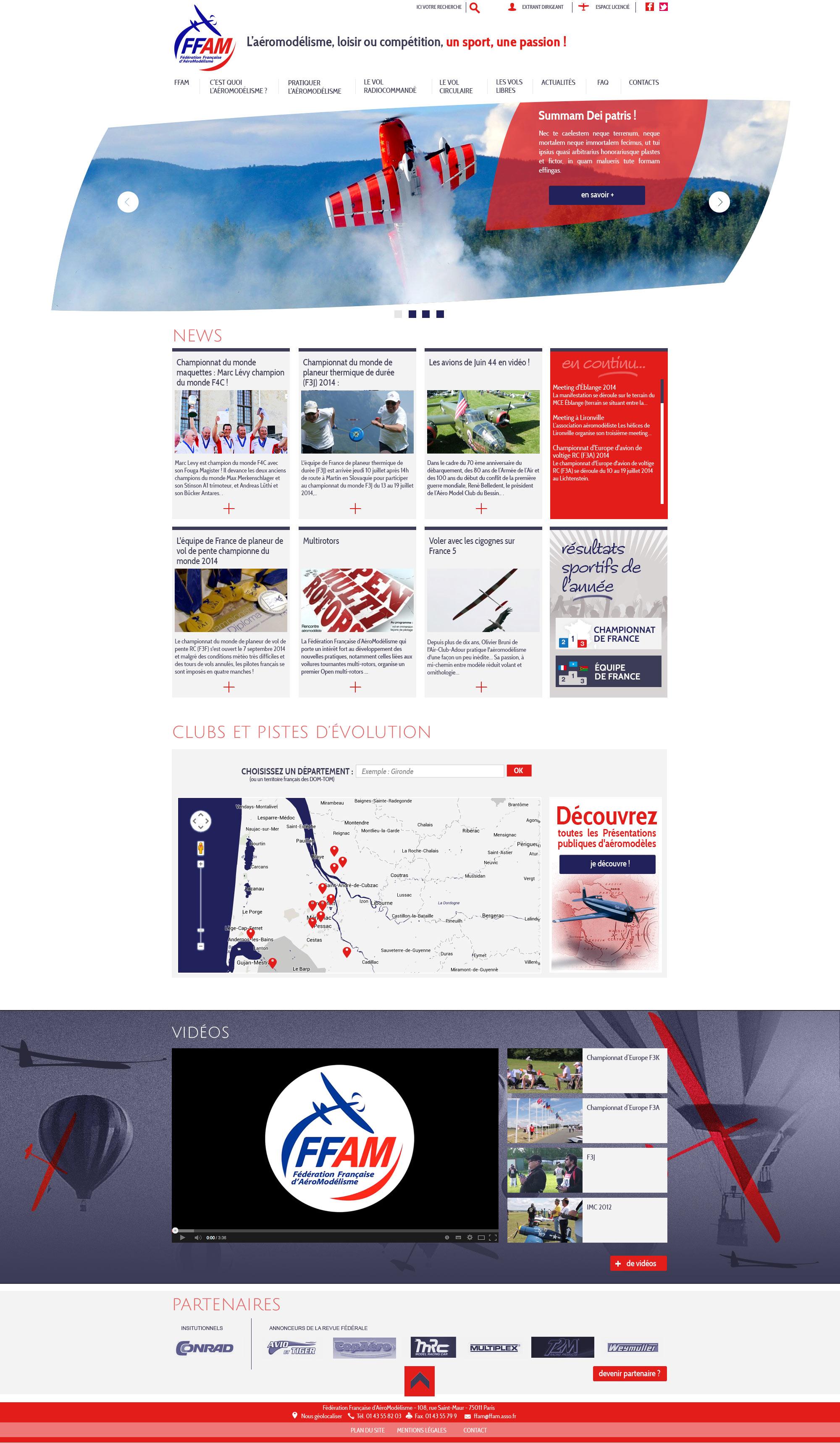 FFAM : webdesign du site de la Fédération française d'aéromodélisme
