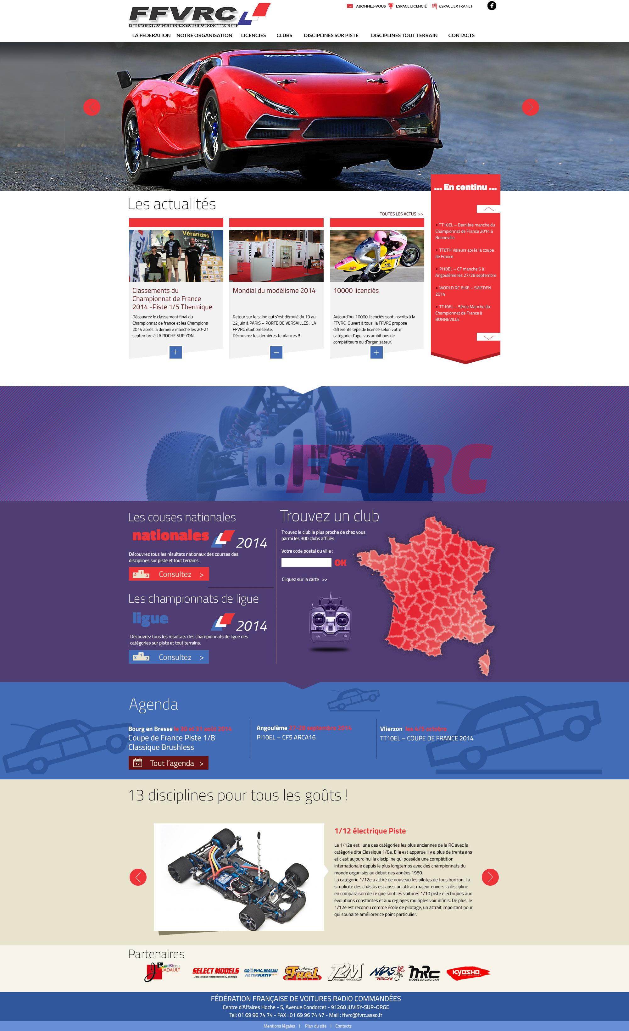 FFVRC : webdesign du site de la Fédération française de voitures radiocommandées