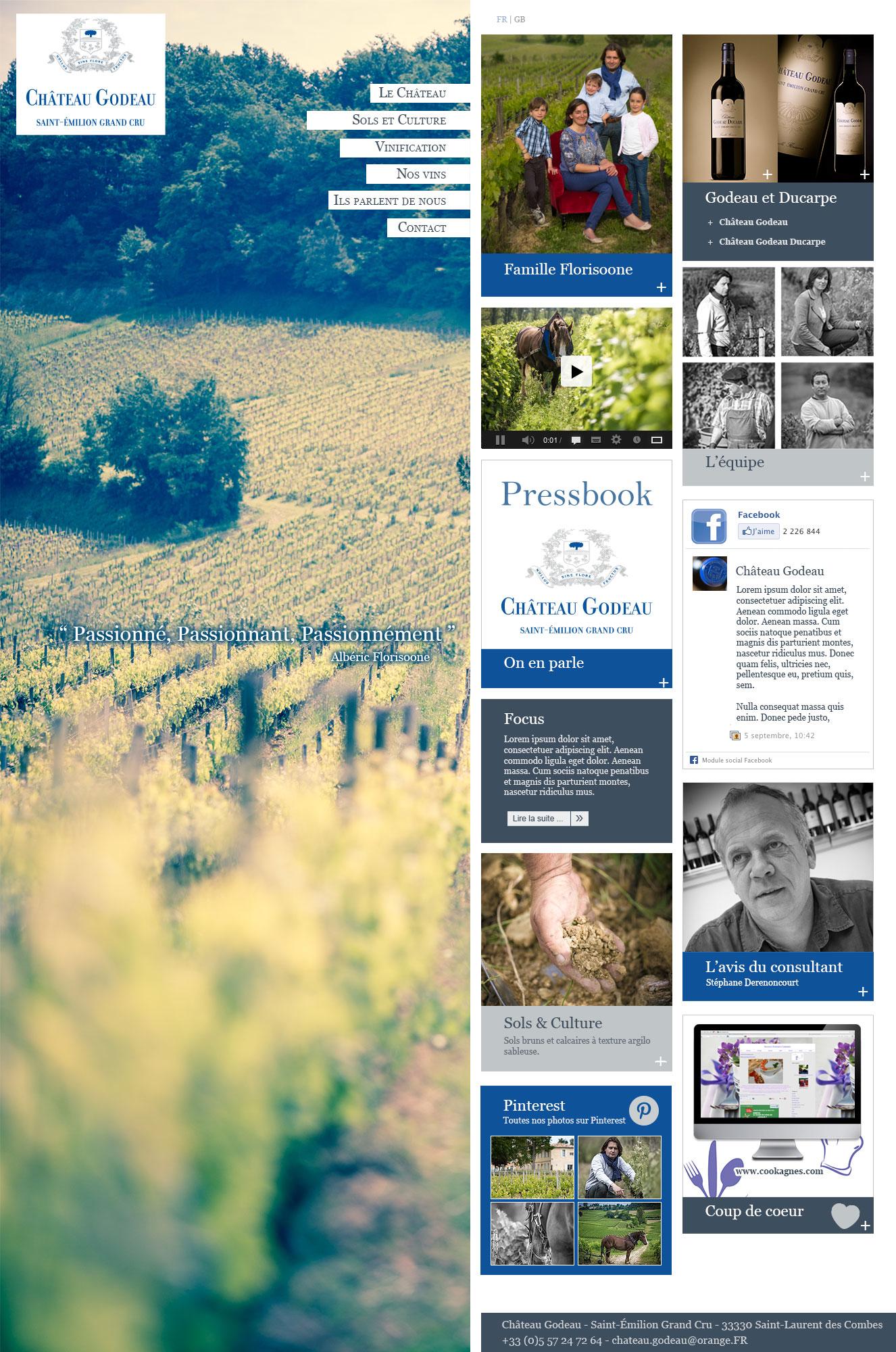 Château Godeau : webdesign pour le site de ce Saint Émilion Grand Cru.