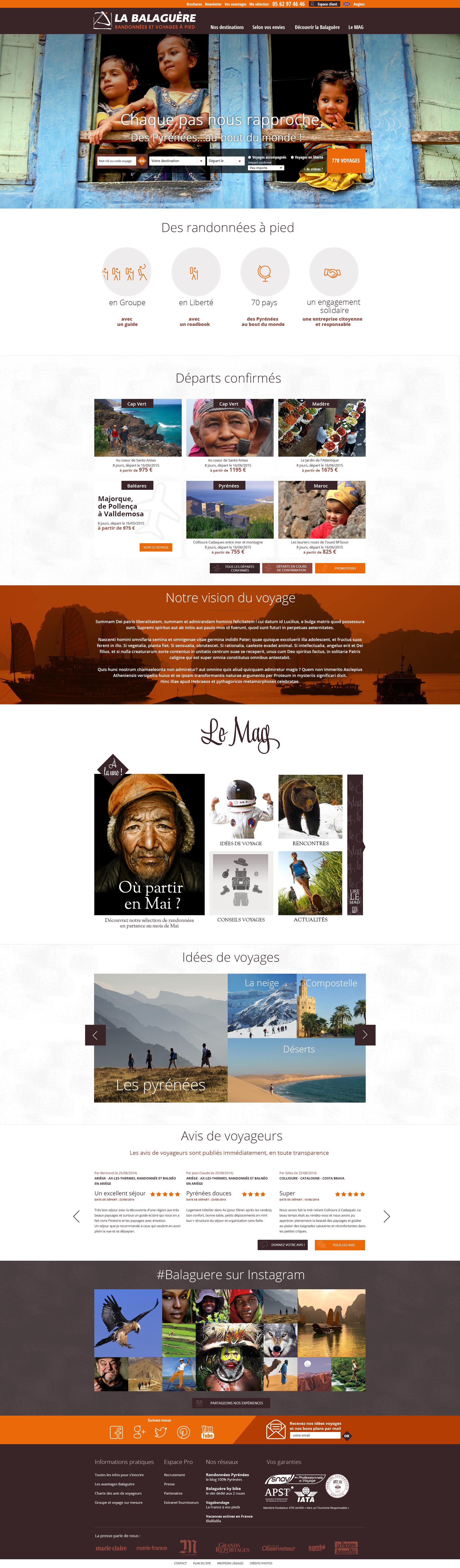 La Balaguère : nouveau site pour le spécialistes du voyage aventure et du voyage à pied.