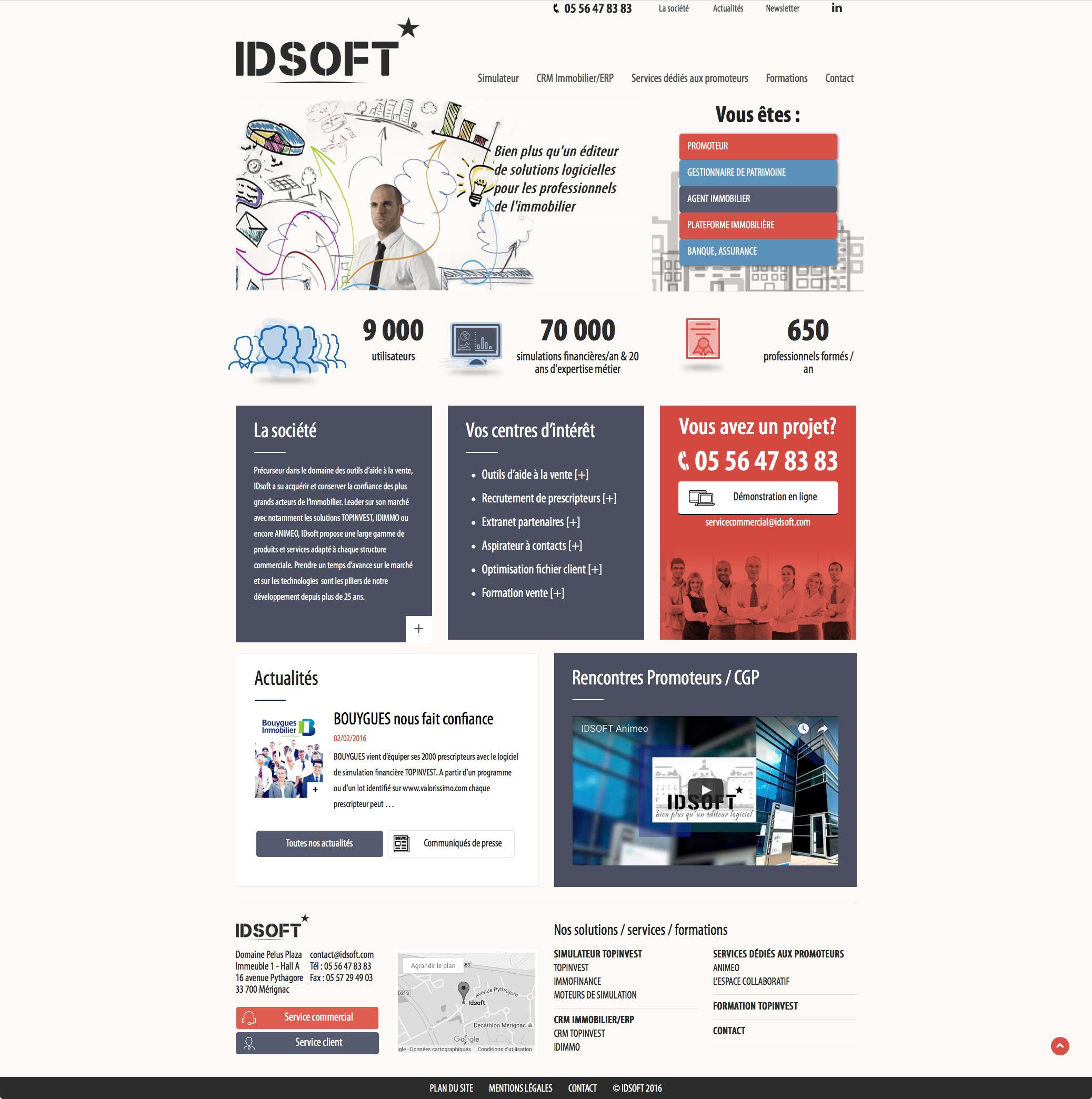 IDSOFT : nouveau site internet pour IDSOFT, éditeur de solutions logicielles pour les professionnels de l'immobilier.