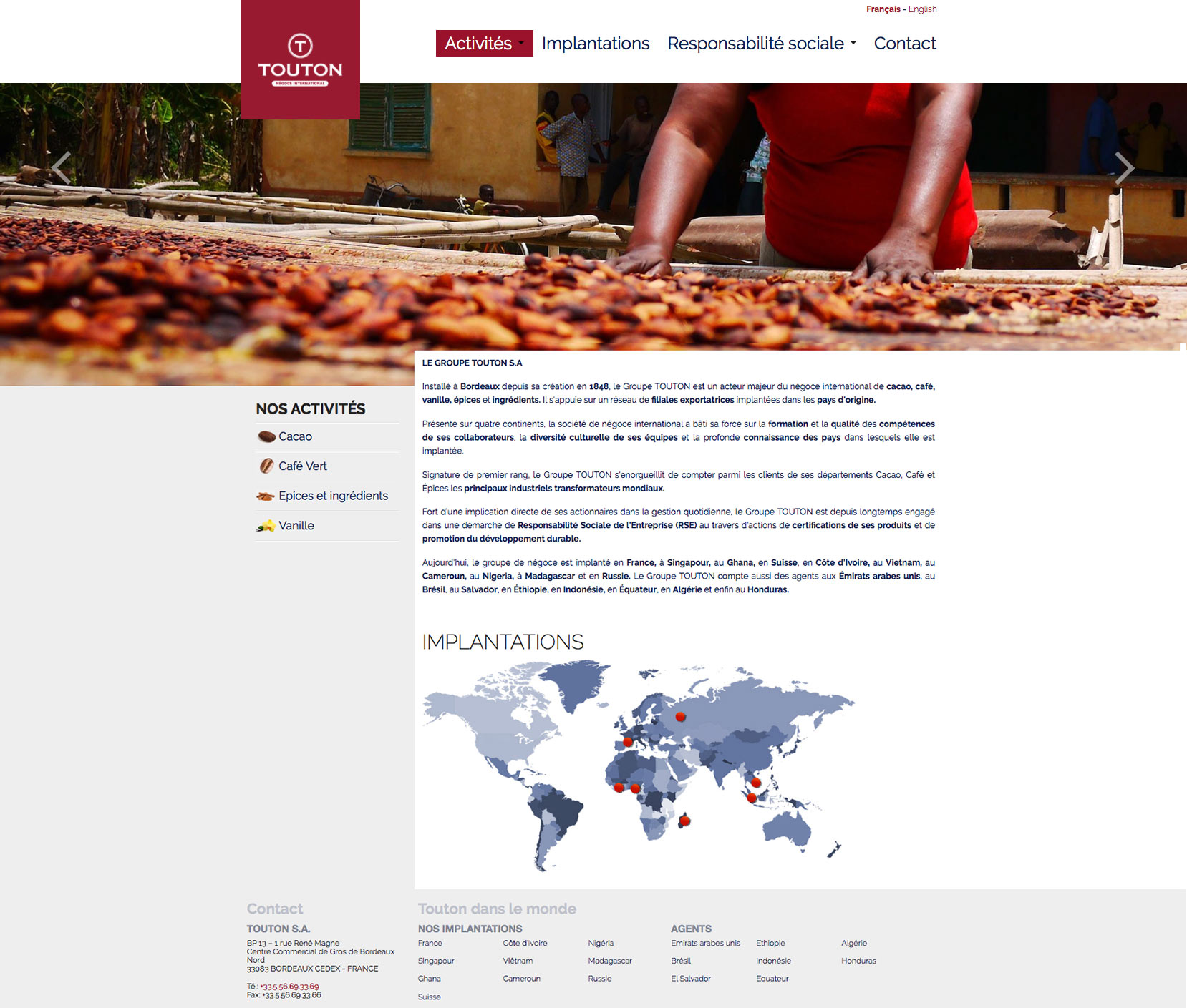 Touton : webdesign du site de la société.