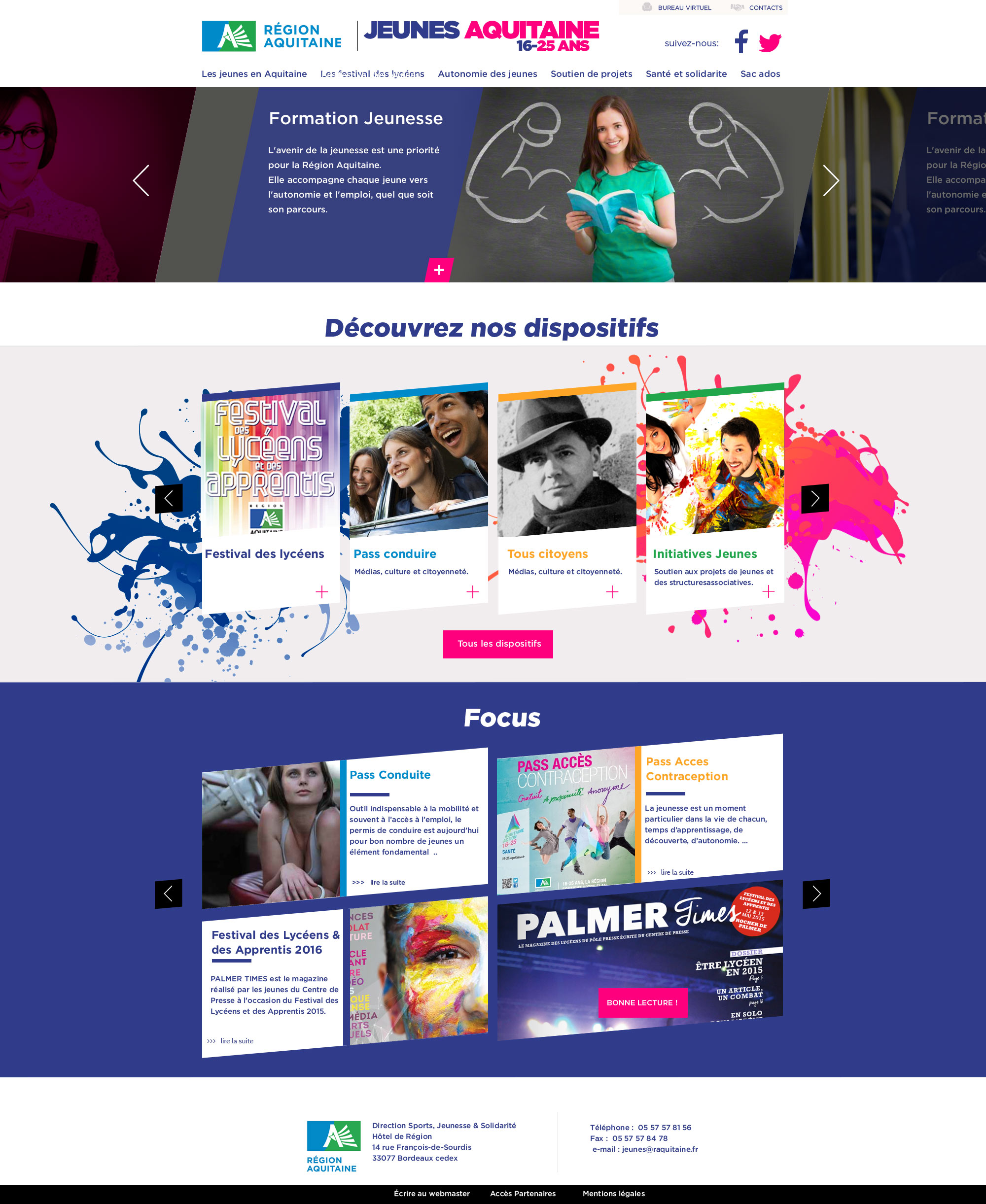 Jeune Aquitaine : webdesign du site