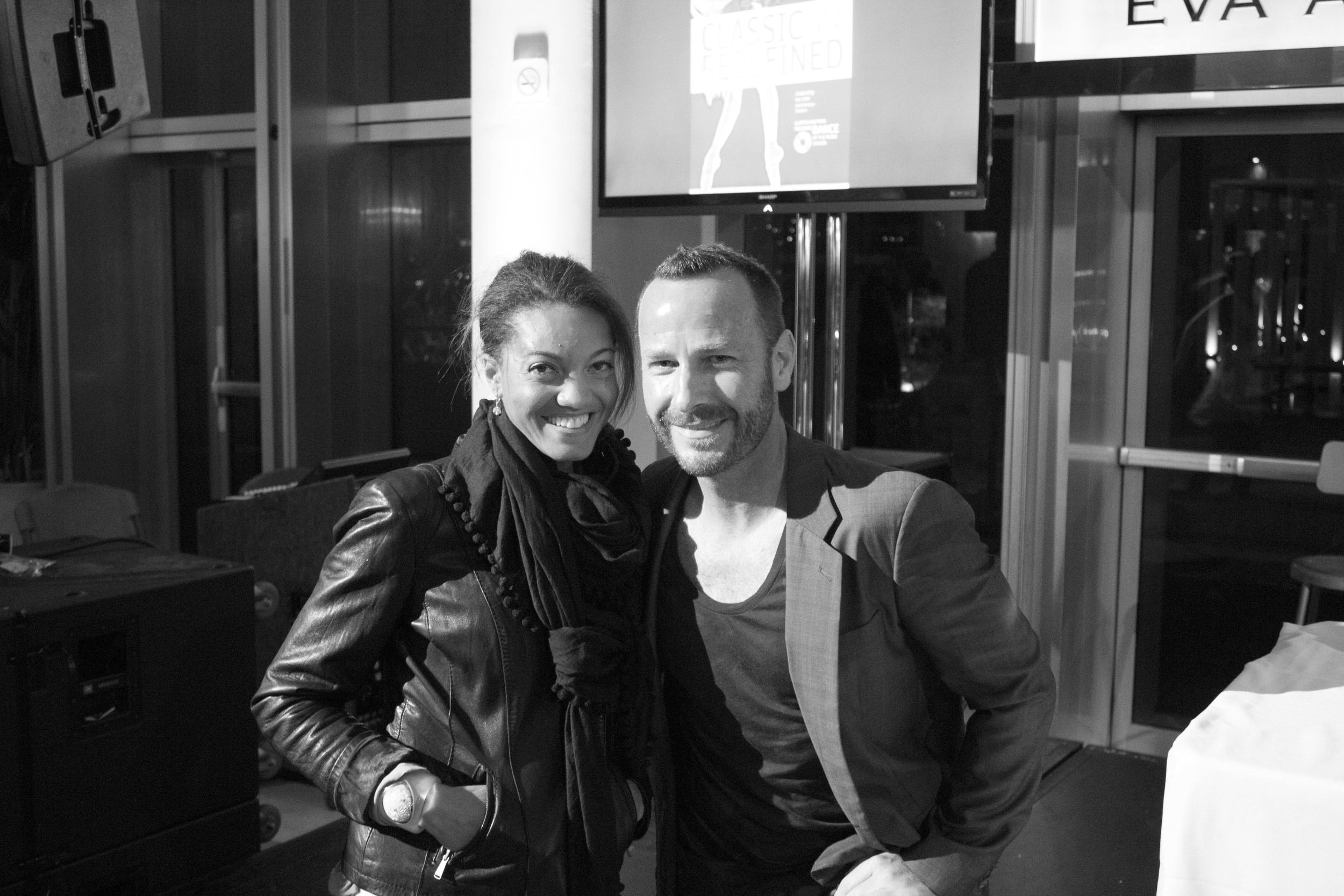 Traces post-performance party. Monica with KCRW's Music Director Jason Bentley at the Music Center.