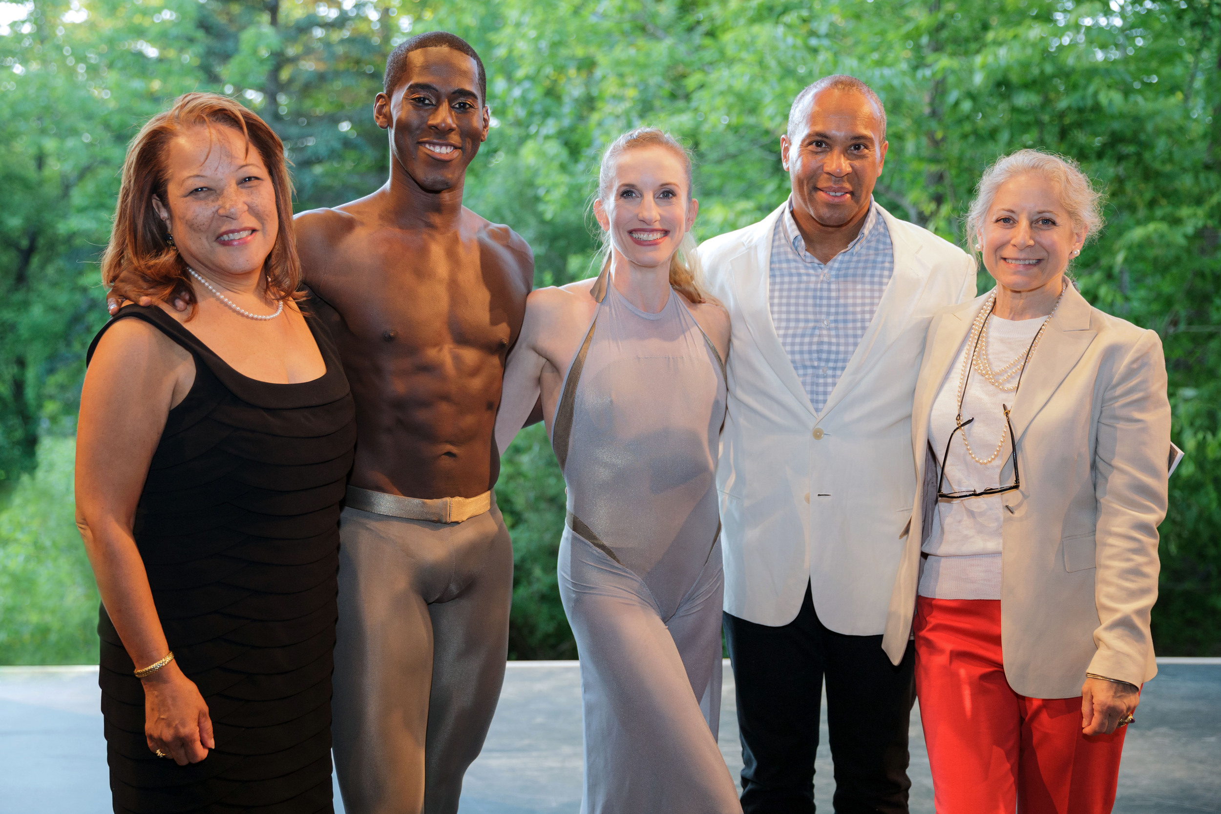 PHOTO CAPTION: First Lady Diane Patrick and Governor of Massachusetts Deval Patrick   backstage with Jacob's Pillow Executive and Artistic Director Ella Baff, New York City   Ballet star Wendy Whelan, soloist with the Martha Graham Dance Company Lloyd   Knight. Photographer Karli Cadel; Courtesy of Jacob's Pillow Dance