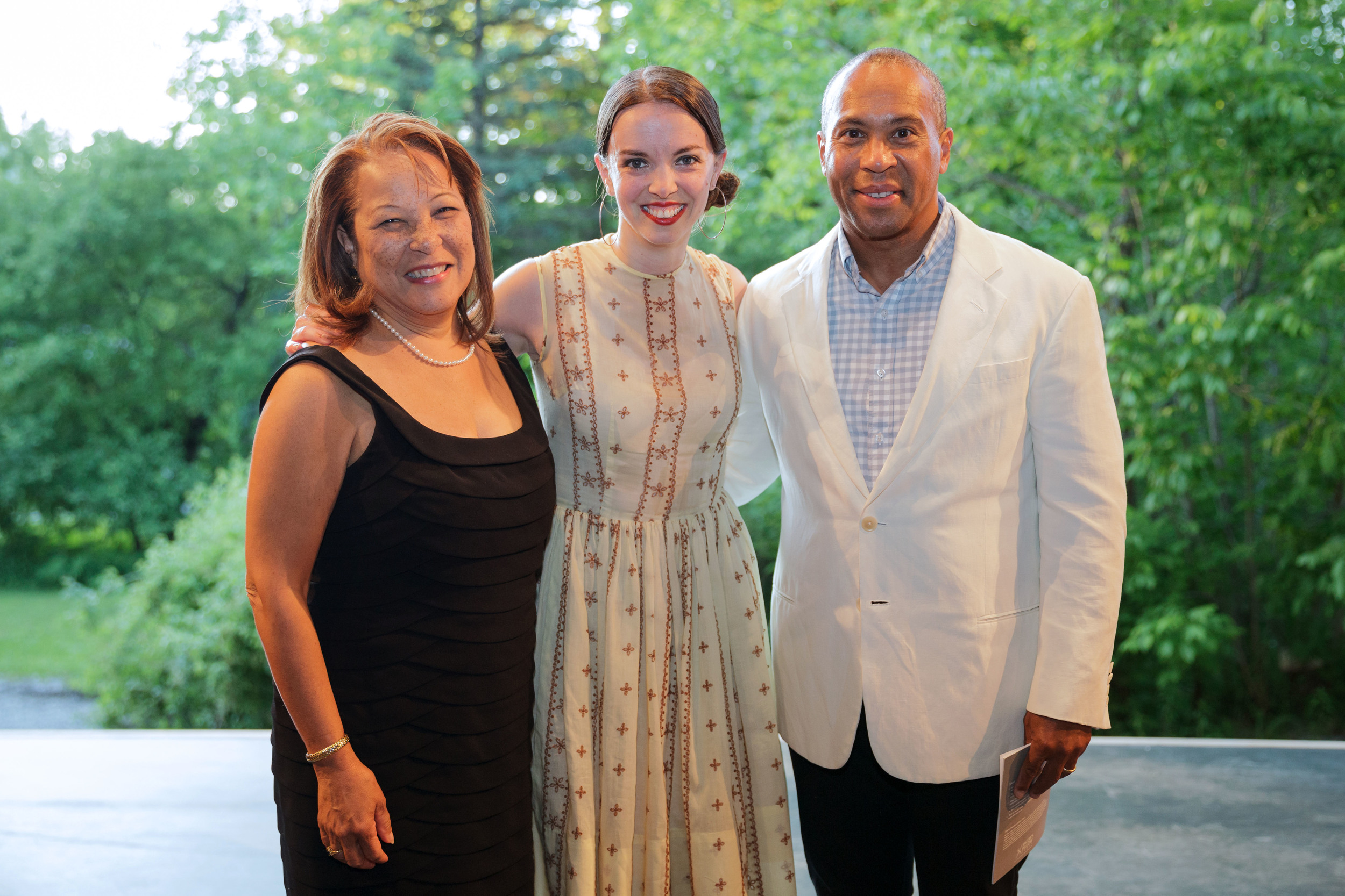 PHOTO CAPTION: First Lady Diane Patrick and Governor of Massachusetts Deval Patrick   backstage with 2013 Jacob's Pillow Dance Award Winner Michelle Dorrance.   Photographer Karli Cadel; courtesy of Jacob's Pillow Dance