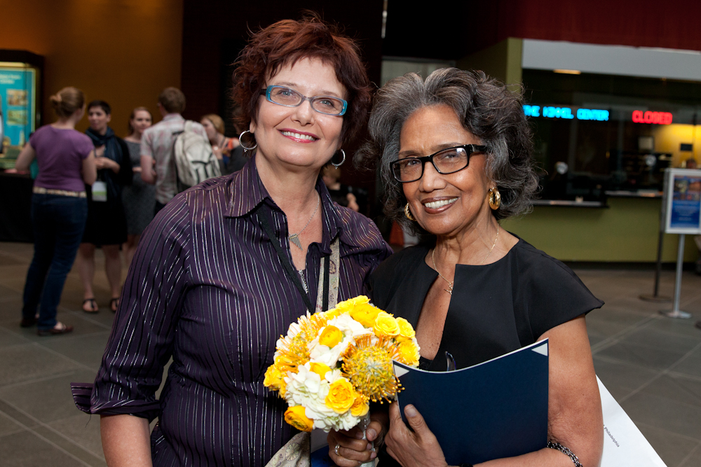 (L-R) Dance/UP Director Lois Welk and Joan Myers Brown.  Photo Credit Alexander Izialiaev.