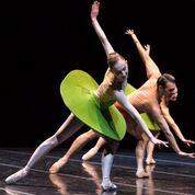 """Pacific Northwest Ballet dancers Margaret Mullin, Jonathan Porretta, and Carrie Imler in William Forsythe's """"The Vertiginous Thrill of Exactitude."""" Photo © Angela Sterling."""