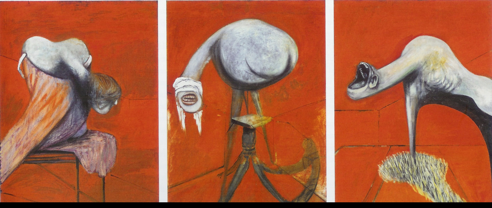 """Francis Bacon, """"Three Studies for Figures at the Base of the Crucifixion"""" (ca. 1944)"""