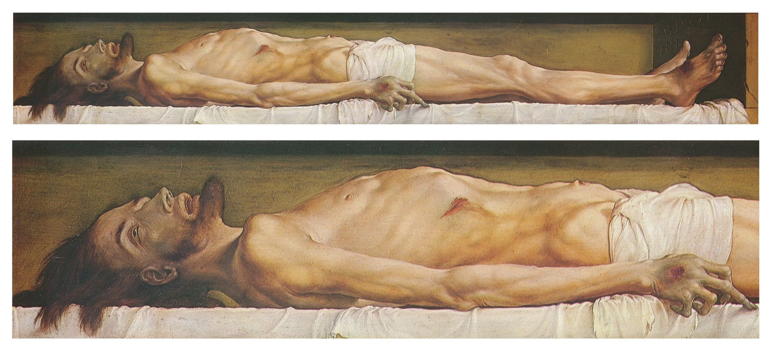 """Hans Holbein the Younger, """"The Body of the Dead Christ""""(ca. 1520)"""