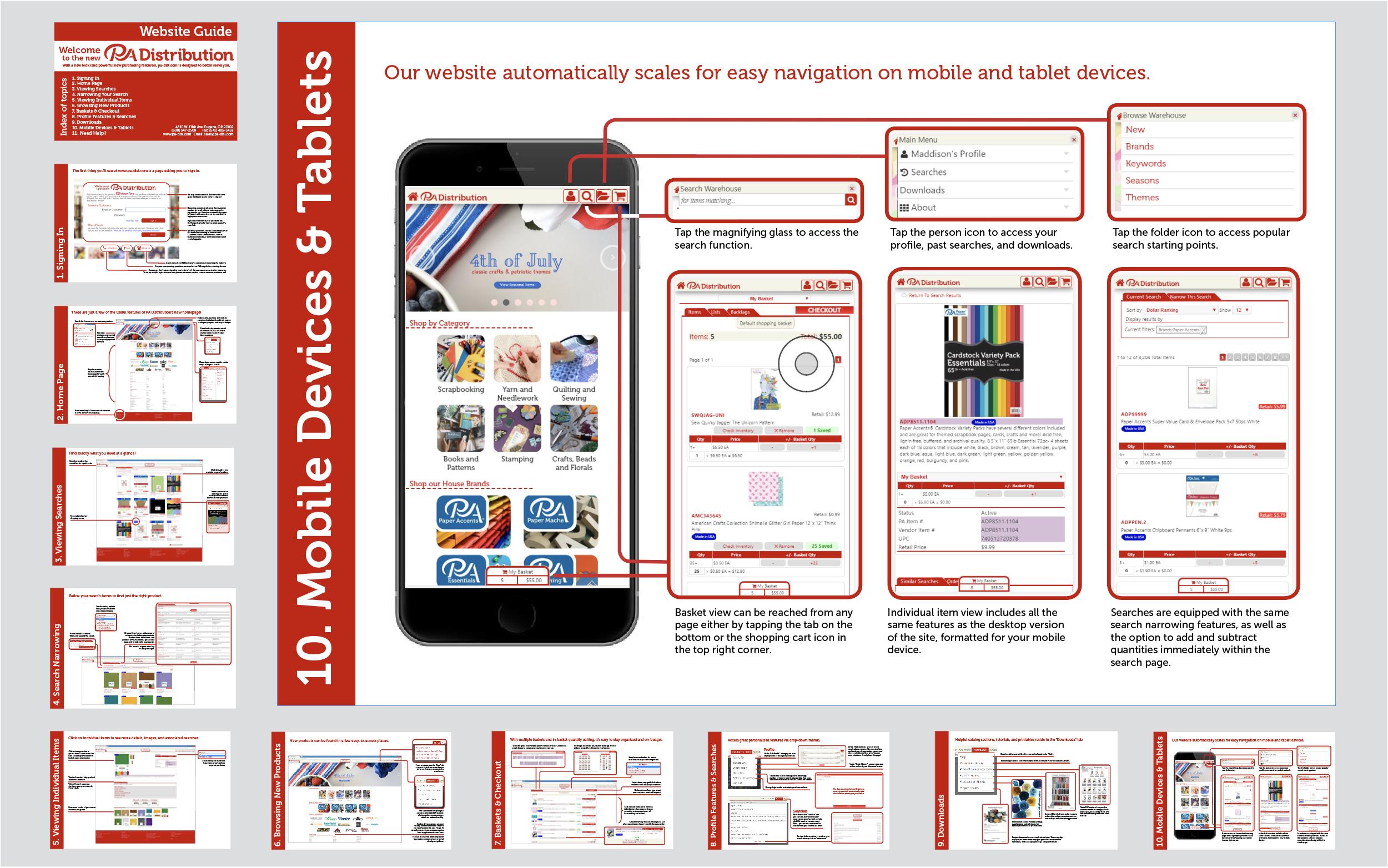 PA Distribution website guide  (design & copywriting)