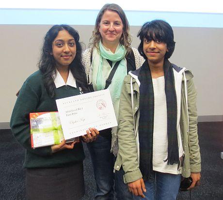 Student Elysha Negi (left)with her teacher Heike Zimmer and her younger sister.photo: Doris Evans