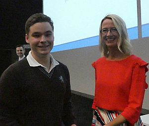Guest speaker Astrid Sandberg and overall winner Hugh Malcolm, Mount Albert Grammar School.
