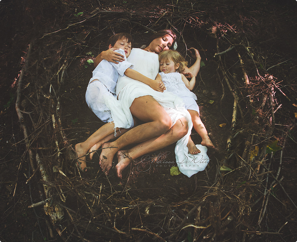 """Nesting""   > A mother and her children before they are grown, leaving the nest."