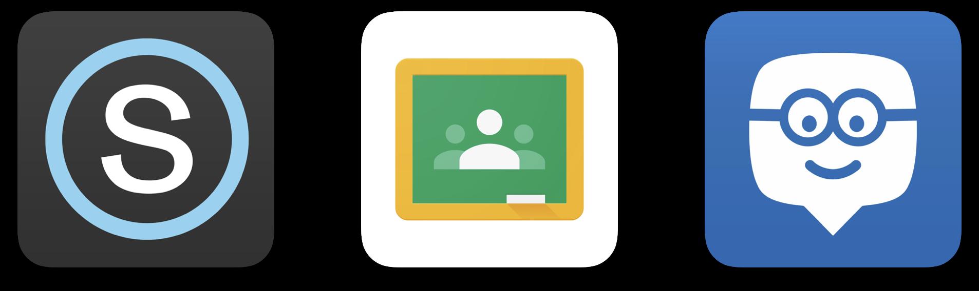 Edmodo0, GOogle CLassroom, and Schoology Logos