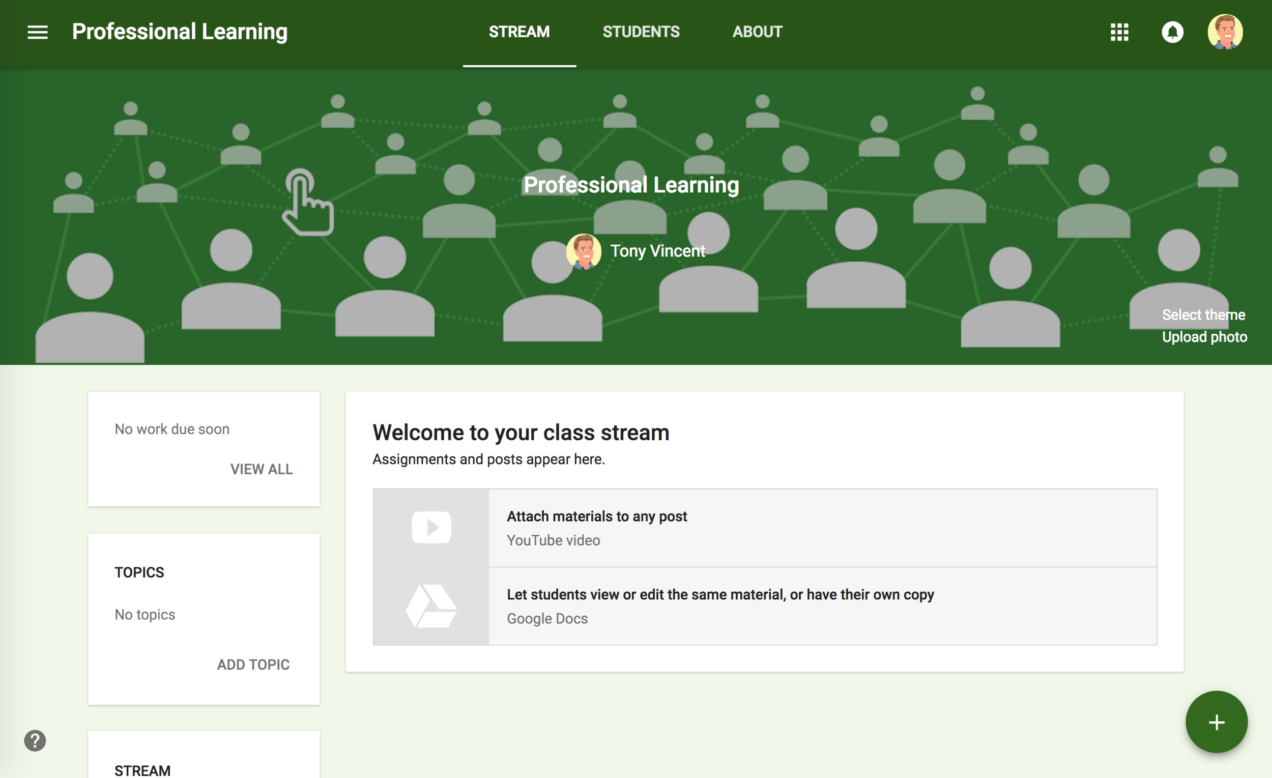 Google Classroom with uploaded Photo