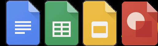 Google Docs, Google Sheets, Google Slides, Google Drawgings