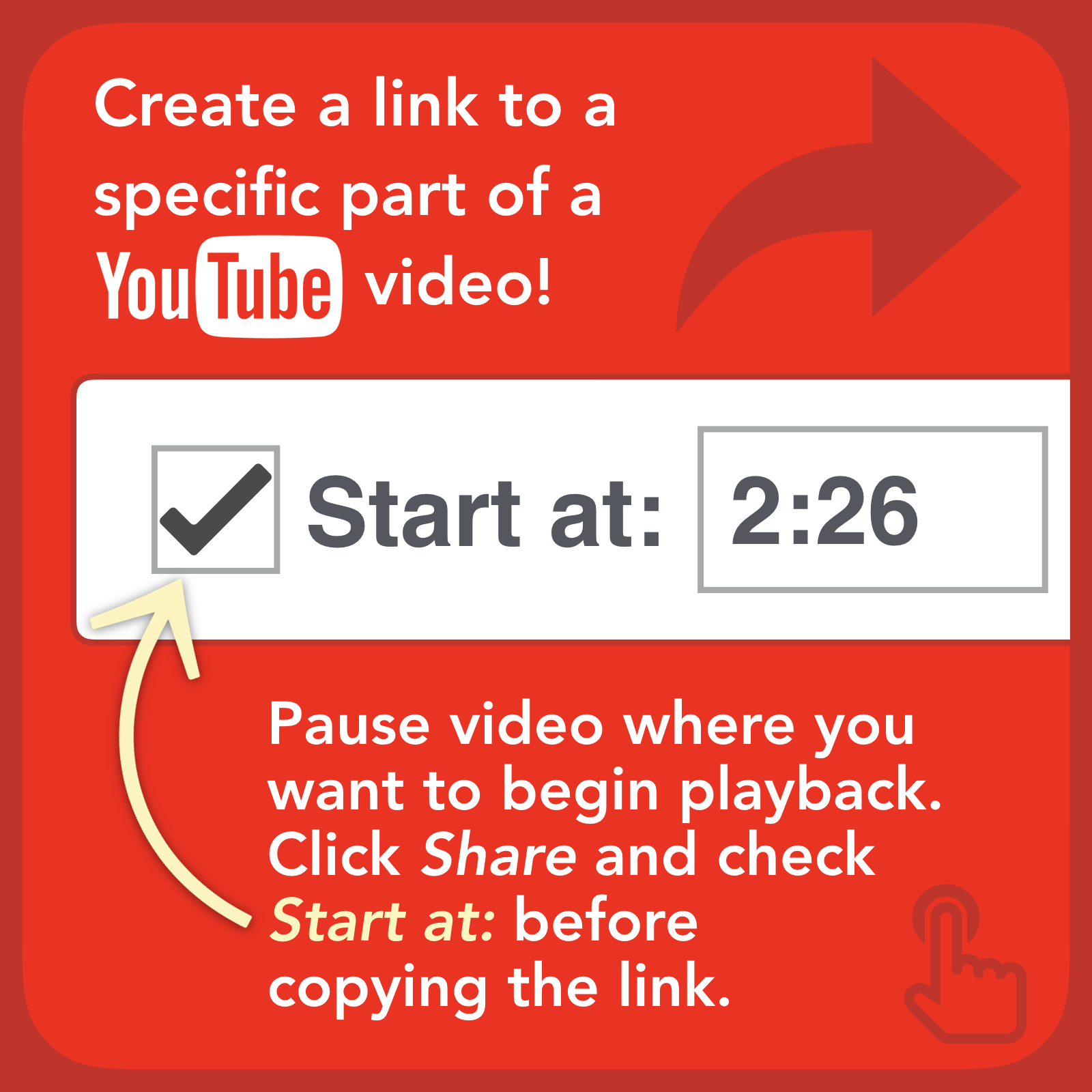 You can create a link to a YouTube video that begins playing at a specified time. This is a great way to skip right into the content you want your audience to view.