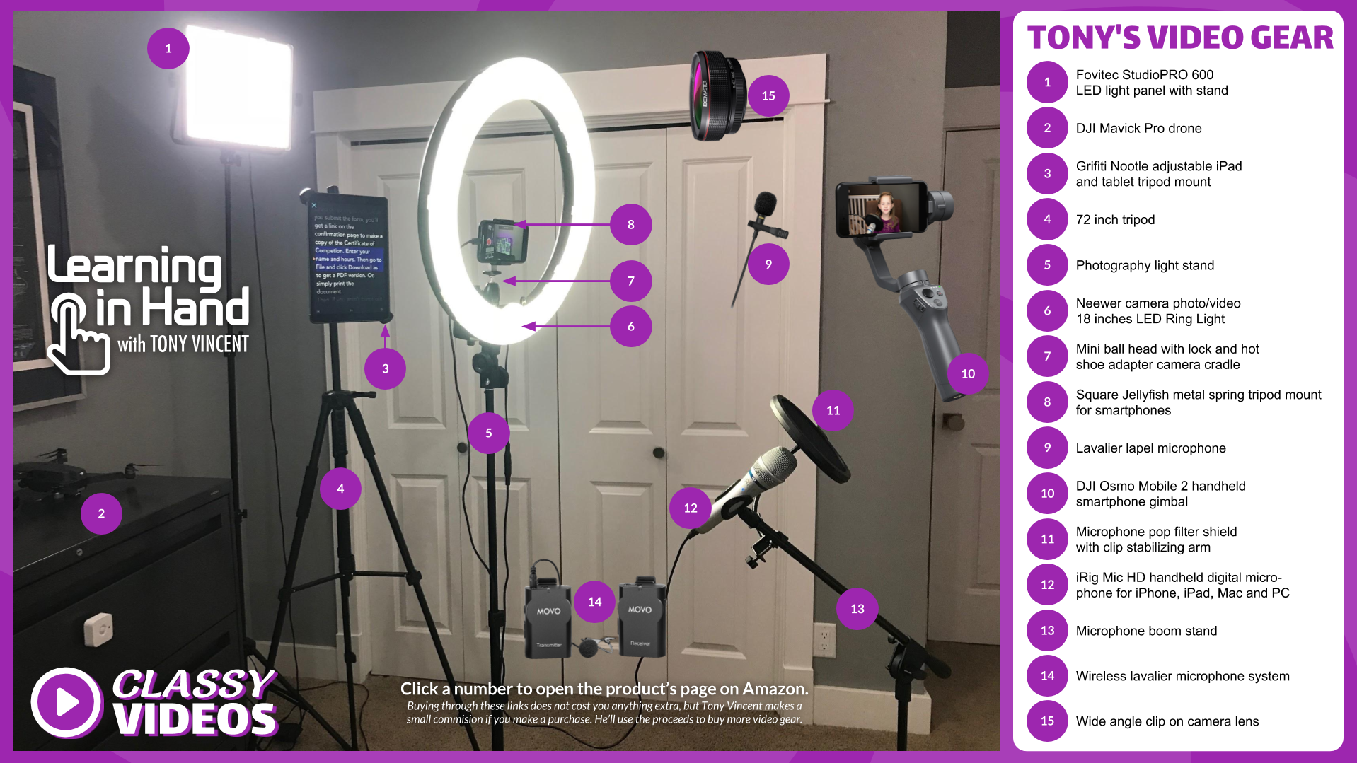 Photo of Tony Vincent's video setup