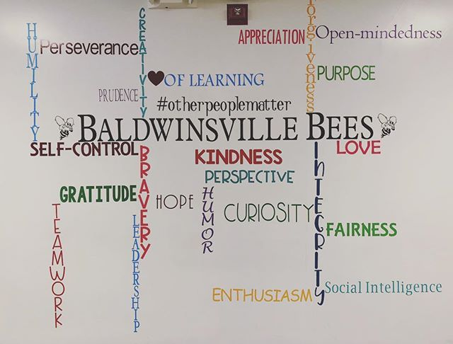 A labor of love! One of my #teacherbesties @dianeramin and I spent countless hours making our #positivityproject  wall! ❤️ #p2 #posproject #baldwinsvillebees #bvillebees #positivity #lovewhereyoulive #iteachmiddleschool #iteach #iteachtoo #iteach456 #teachersfollowteachers #teachersofinstagram #teachersofinsta #teachersofig #cricutexploreair2
