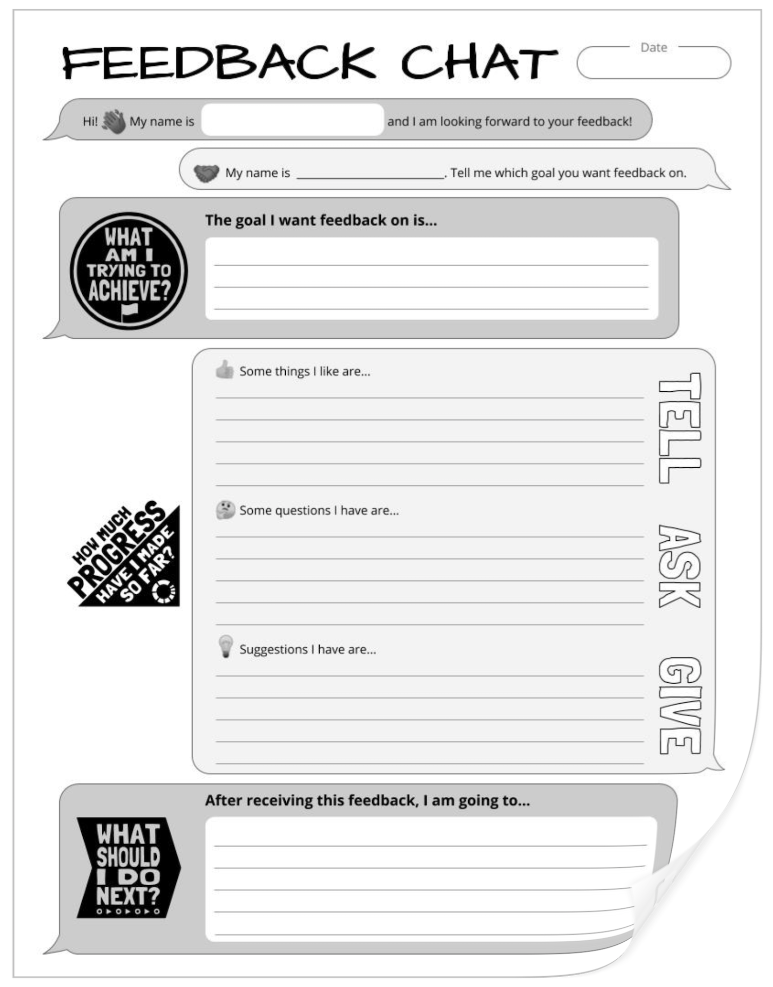 Screenshot of Feedback Chat Paper Version