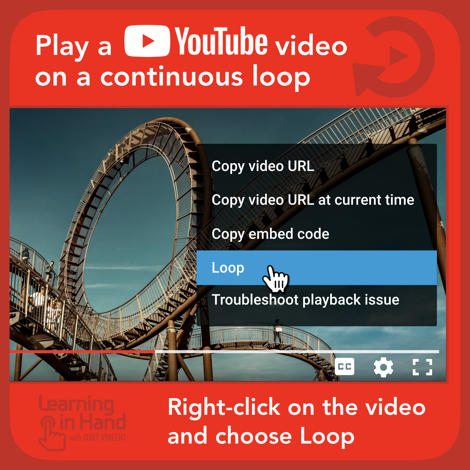 So you want a video to continuously repeat? You can do that with YouTube! When a video is playing, right-click (or click with two fingers) anywhere on the video. A menu appears and one of the options is Loop.