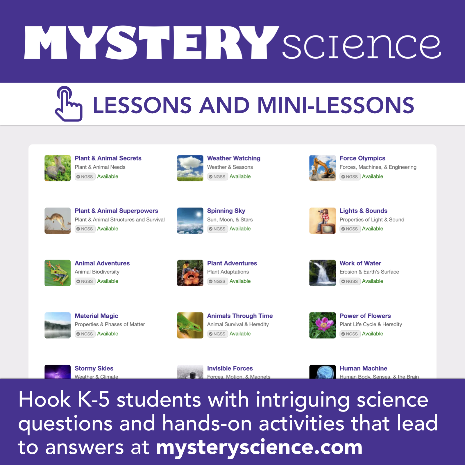 Mystery Science: Lessons and Mini-Lessons