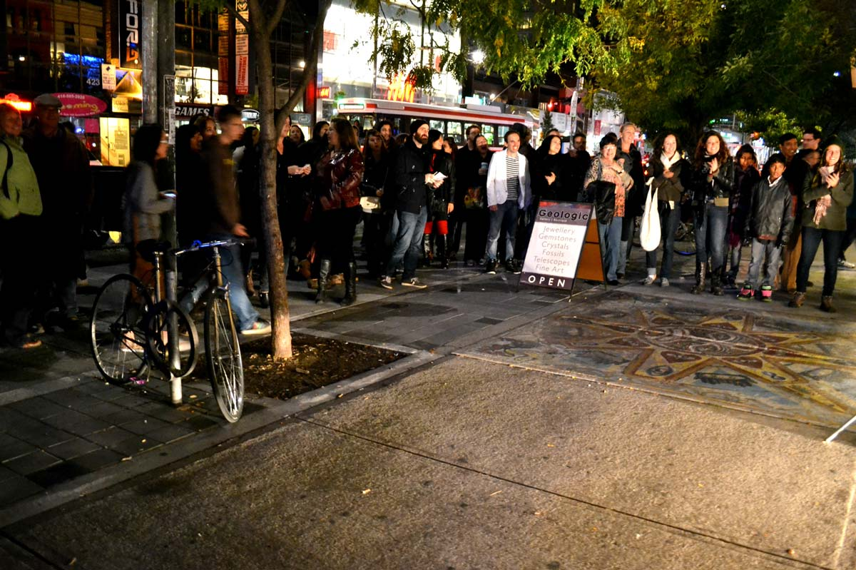 Hundreds of spectators stopped to check out the installation at the Queen St location. Photo: Jacqueline Valentine