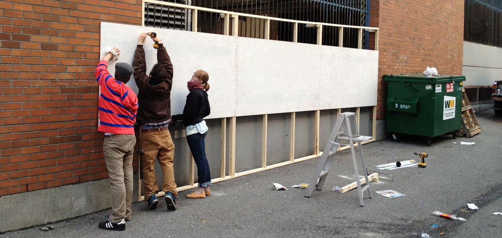 a coat of primer on our 'wall'