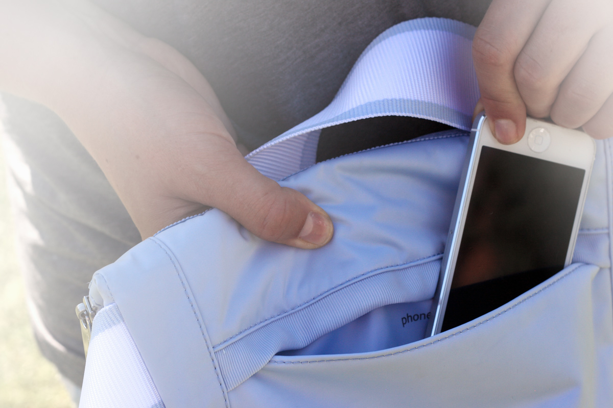 Phone pocket is easy-access