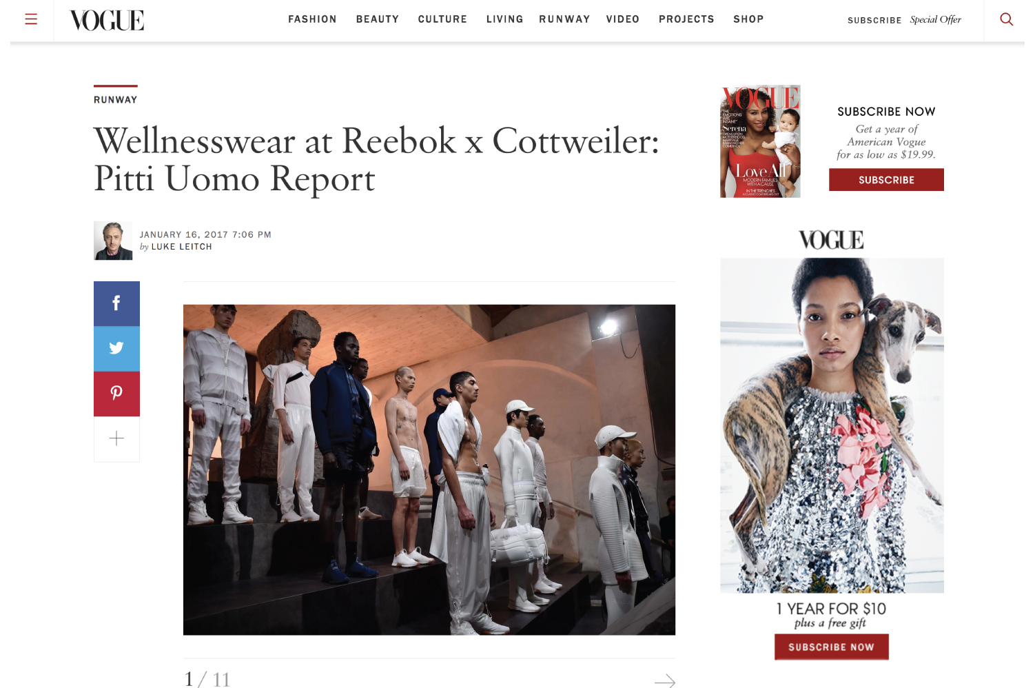VOGUE | Wellnesswear at Reebok x Cottweiler: Pitti Uomo Report, by Luke Leitch, January 16, 2017