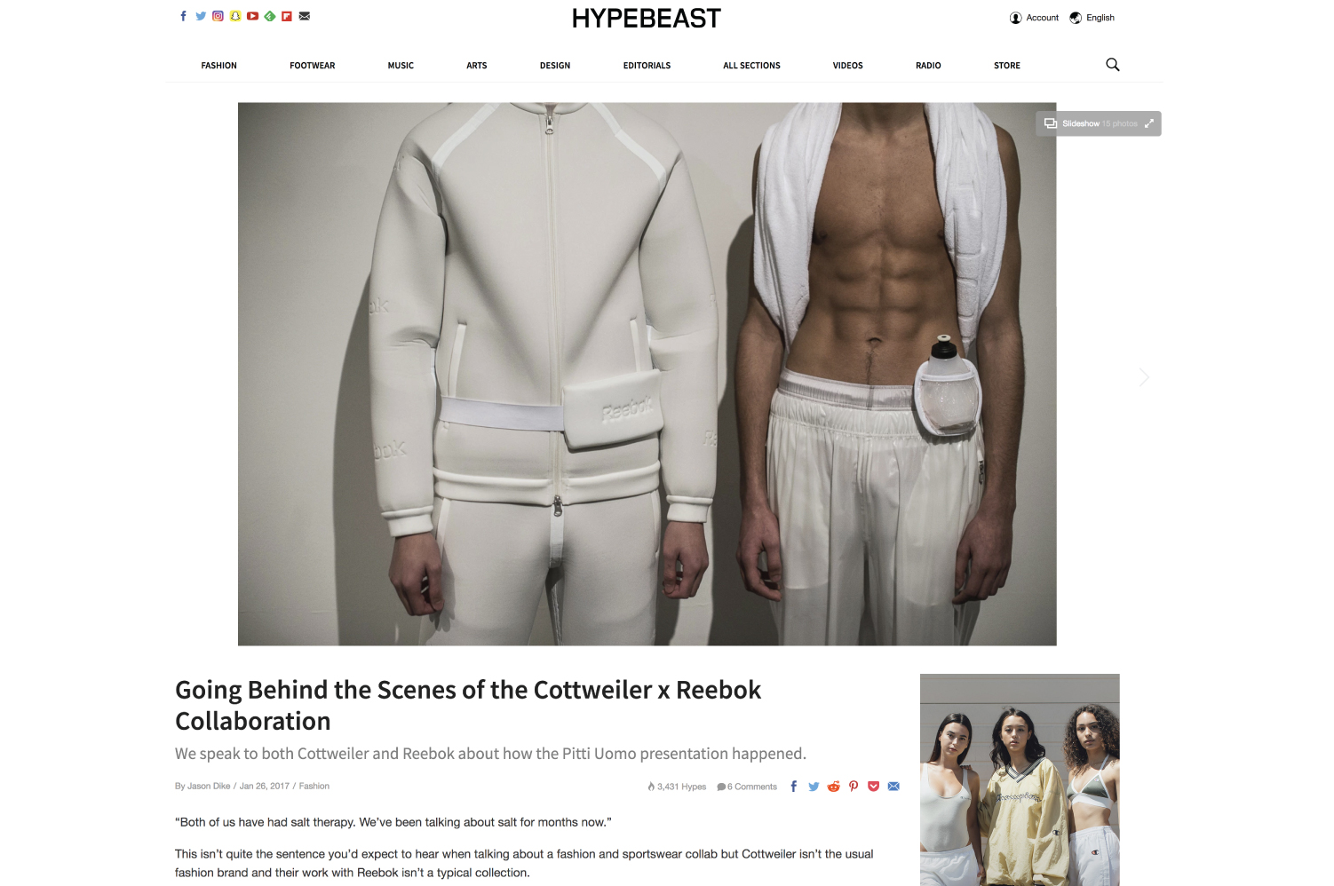 HYPEBEAST | Going Behind the Scenes of the Cottweiler x Reebok Collaboration, by Jason Dike, January 26, 2017