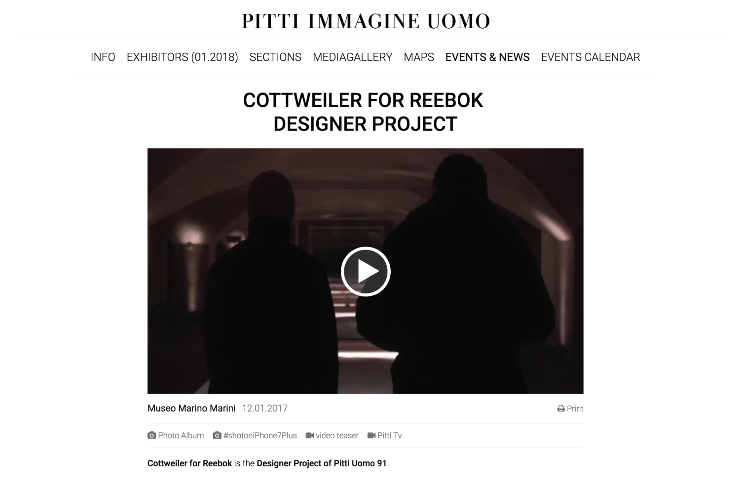 PITTI UOMO | Cottweiler for Reebok Designer Project, January 12, 2017