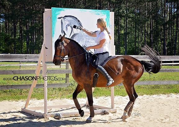 Sandra Beaulieu Art on Horseback Equine Artist Bitless Bareback Calligraphy Abstract .jpg