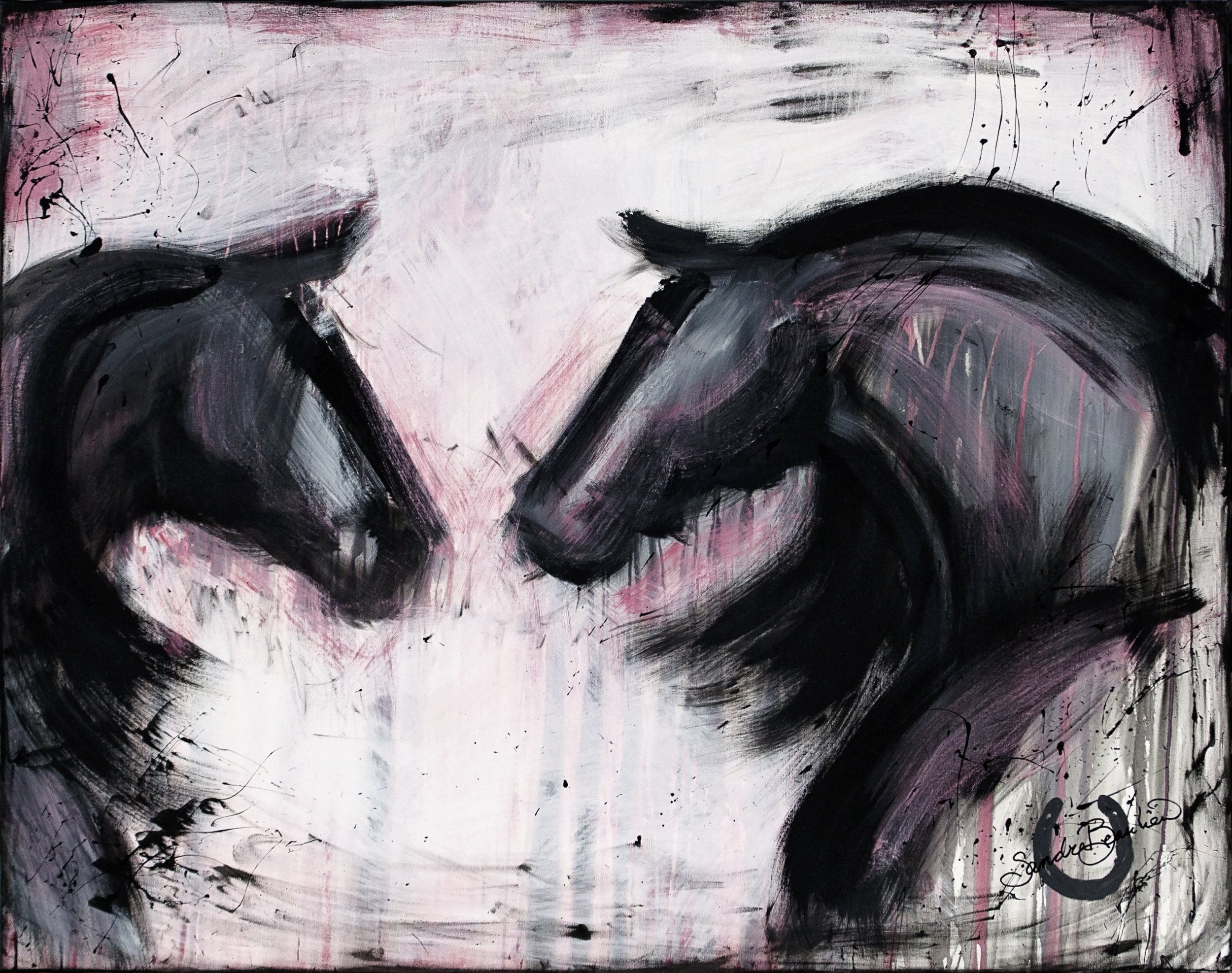Equus Amore Chason Art on Horseback Abstract Canvas Painting Sandra Beaulieu.jpg
