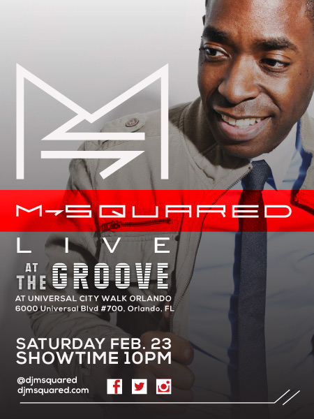 """Mark your calendars! Saturday Feb. 23rd I will be performing live @ THE GROOVE at UNIVERSAL CITY WALK in Orlando! I love this venue and can't wait to see you all again Feb. 23rd! Check out a quick video recap from my past performance at The Groove, in the """"Video"""" section of the site! You don't want to miss this!"""