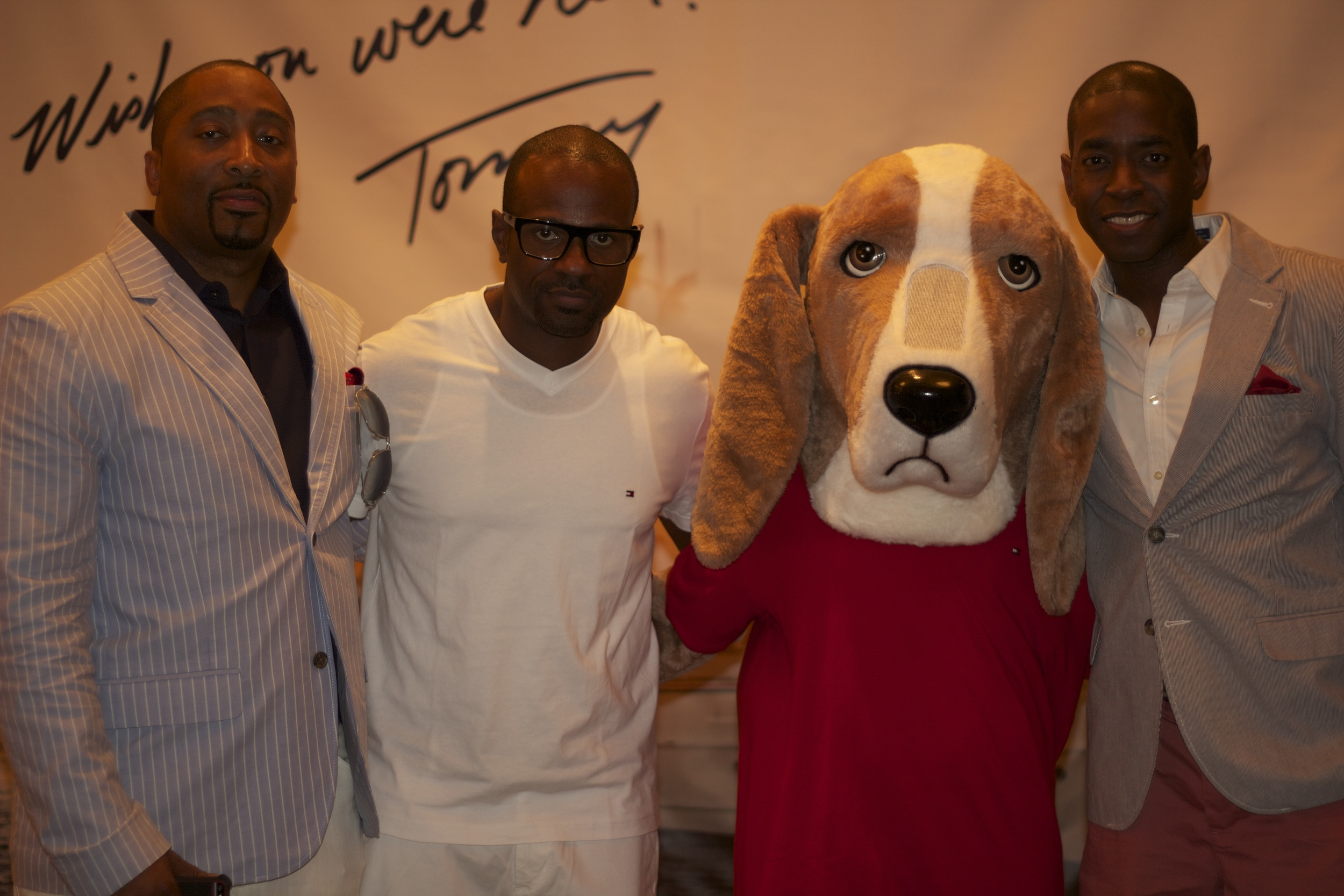 with my management team Arthur Sims (L) and Fernando Watson (R) and the Tommy Mascot