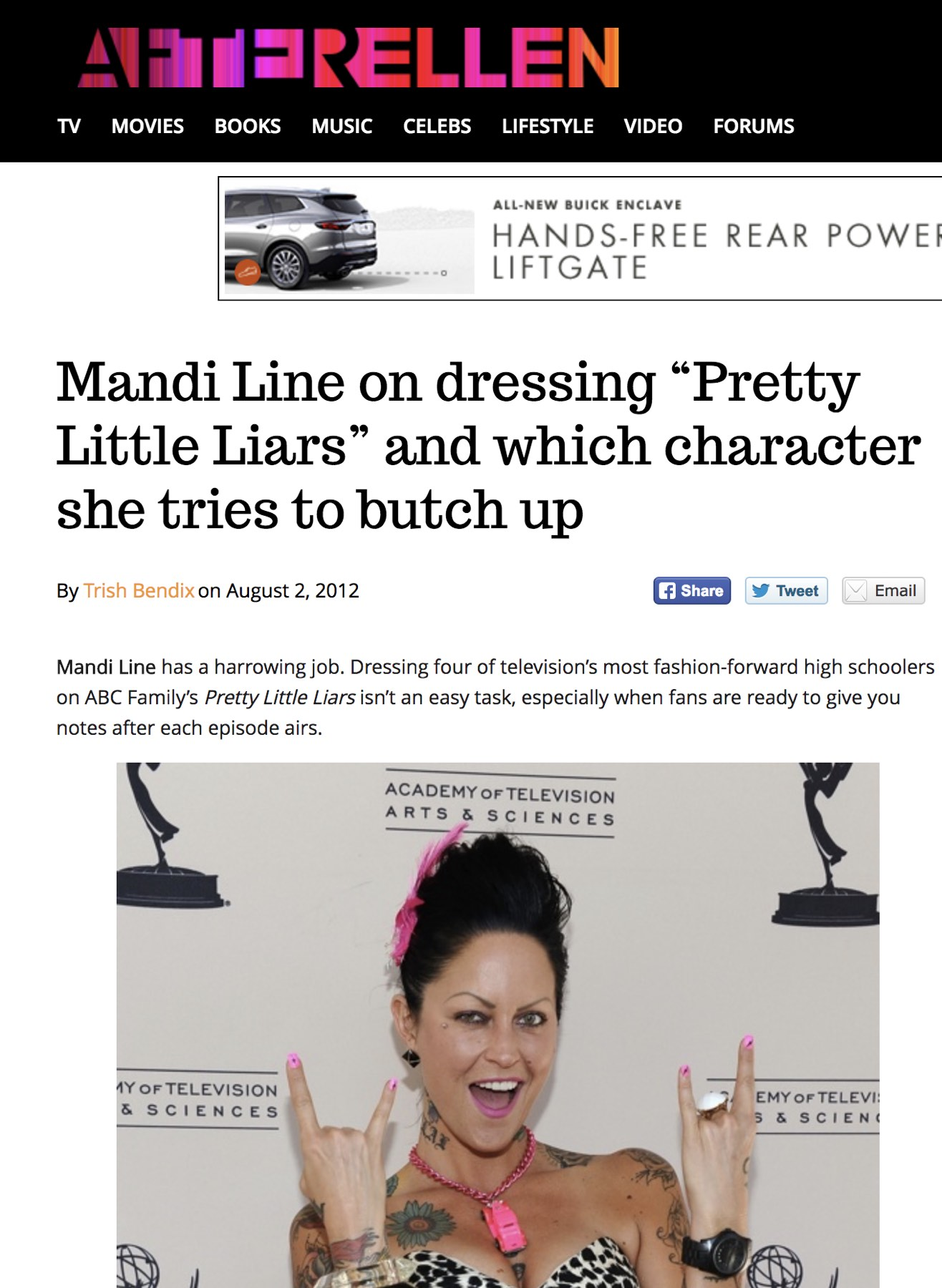"AFTERELLEN  -  Mandi Line on dressing ""Pretty Little Liars"" and which character she tries to butch up"