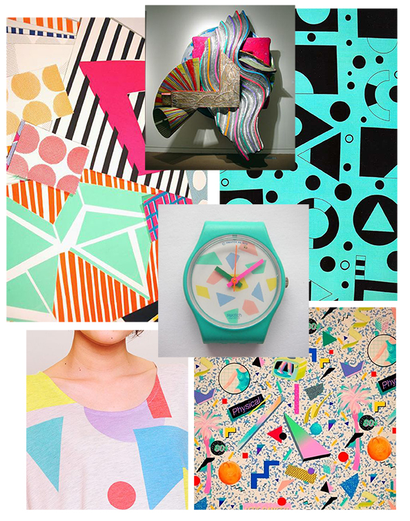 From Top Left: Sunny Todd, Frank Stella, George Sowden, YokoHonda, Swatch, Grassland & Geometric