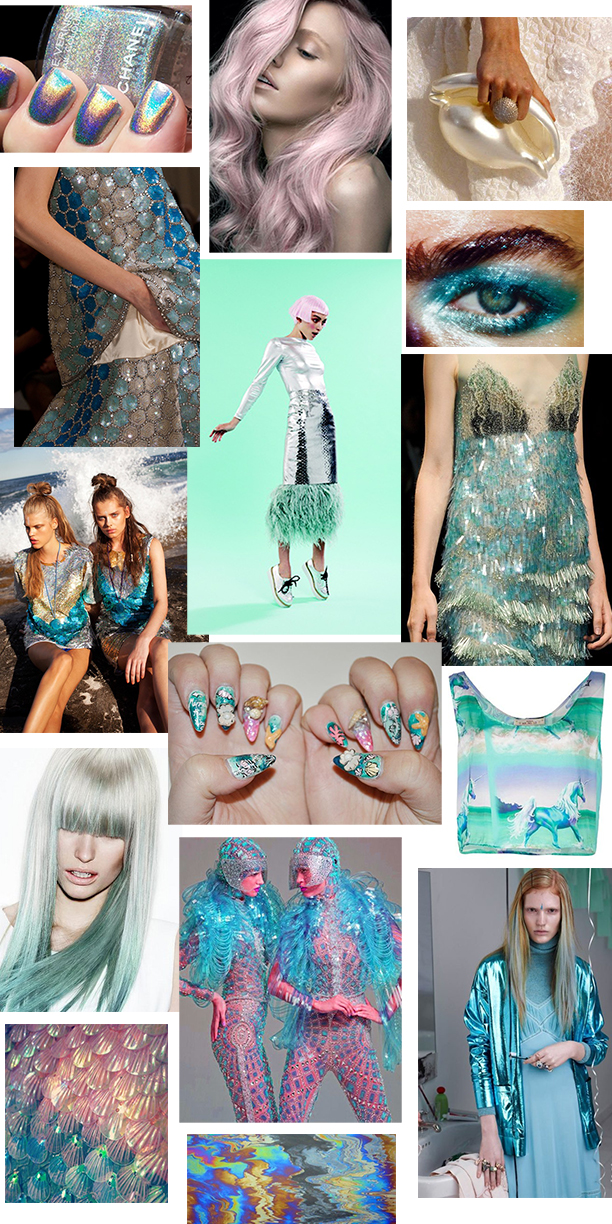 Clockwise from top left: Chanel, Anton Ostlund, Chanel conch clutch, Maybelline: Tenacious teal via Harper's Bazaar, Alberta Ferreti S/S 2013, Vanesa Krongold tank, Burberry Prorsum, Oil slick, Shell sequins, UK Hairdressers Z One concept, KMS Cali hair Emma Mulholland tops, Maison Martin Margiela 2014, Meg Gray style / Pierre Tousaint photo, Clara H nails,