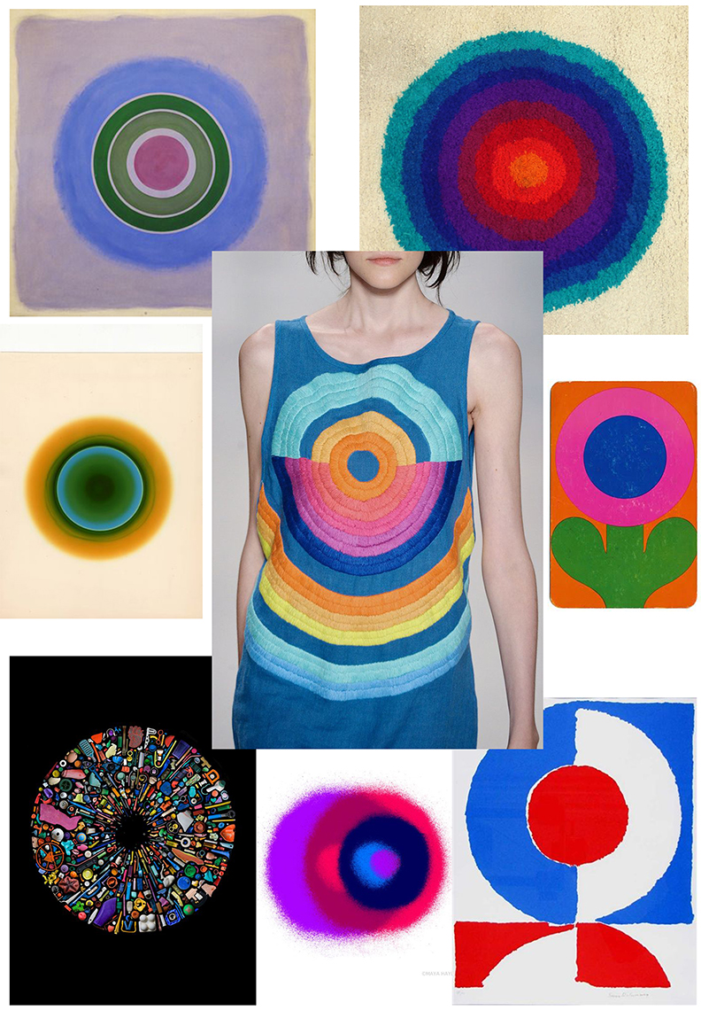 Clockwise from top left: Kenneth Noland 1962, Vernor Panton rug, 1962 flower postcard, Sonia Delaunay,  Maya Hayuk, Mandy Barker, Floris M. Neususs, Mara Hoffman 2015