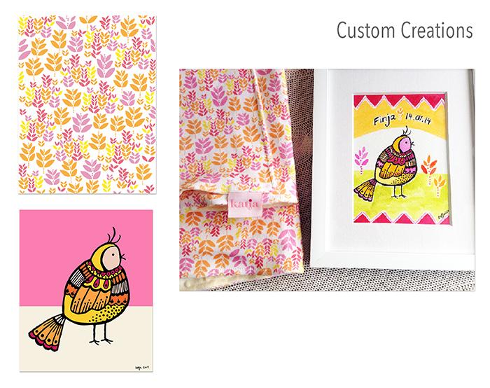 Custom baby blanket and artwork