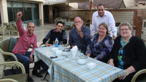 Some of the Tentmakers of Cairo with Jenny Bowker & Bonnie Browning. May 2012.