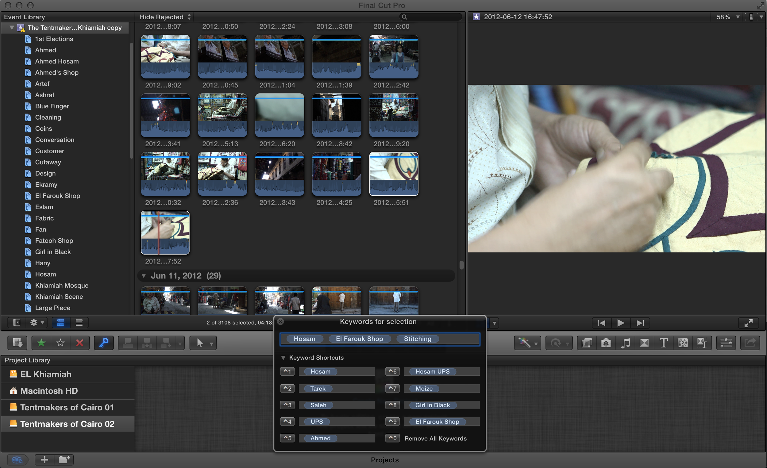 Sorting and marking footage.